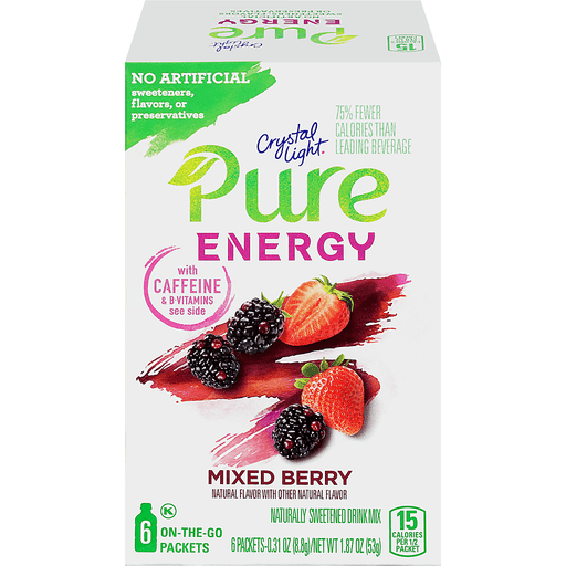 Crystal Light Pure Energy Drink Mix Mixed Berry - 6 CT
