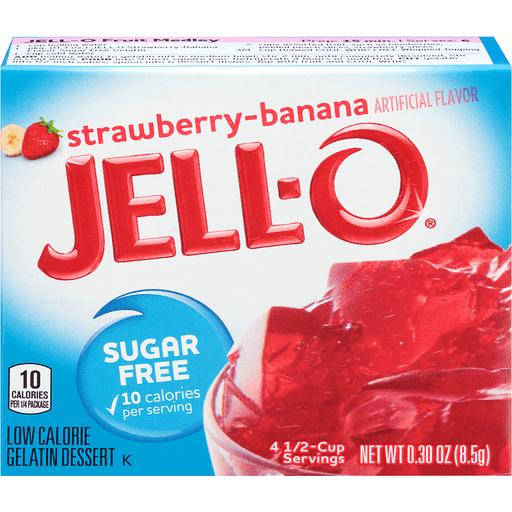 Jell-O Strawberry-Banana Sugar Free Low Calorie Gelatin Dessert