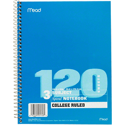 Mead Spiral Notebook 3 Subject College Ruled 120 Sheets