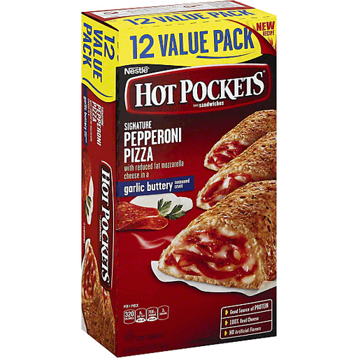 Hot Pockets Sandwiches Pepperoni Pizza Garlic Buttery Crust 12 Ct Selectos