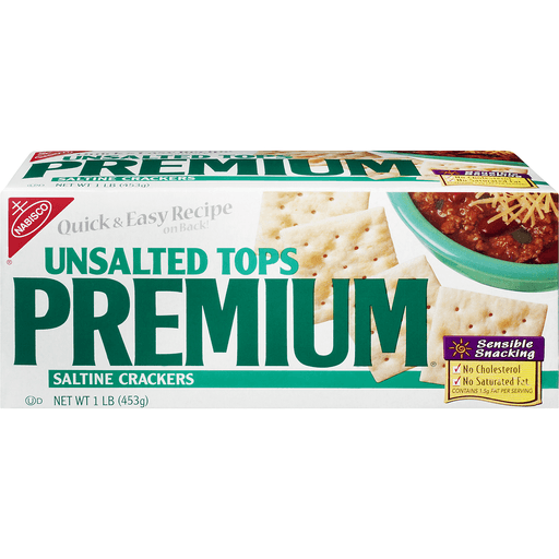 Premium Crackers, Saltine, Unsalted Tops