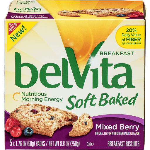 BelVita Soft Baked Breakfast Biscuits, Mixed Berry