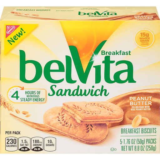 Nabisco belVita Breakfast Sandwich Peanut Butter - 5 PK