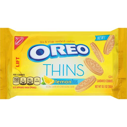 Oreo Thins Cookies, Sandwich, Lemon Flavor Creme