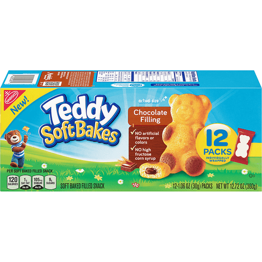 Teddy Grahams Soft Bakes Filled Snack, Soft Baked, Chocolate Filling, 12 Packs