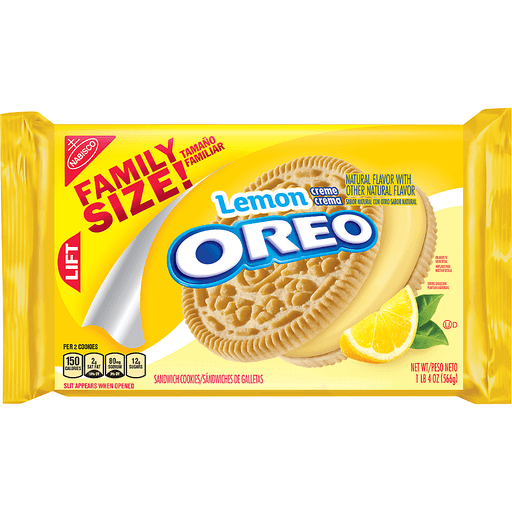 Oreo Sandwich Cookies, Lemon Creme, Family Size!