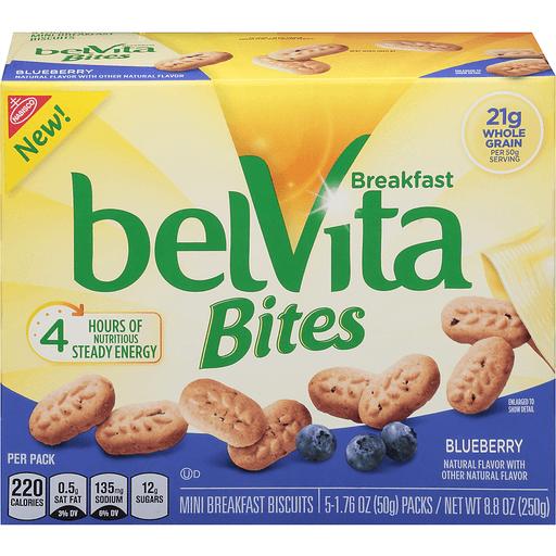 Nabisco Belvita Blueberry Breakfast Bites Mini Breakfast Biscuits 5-1.76 oz. Bags