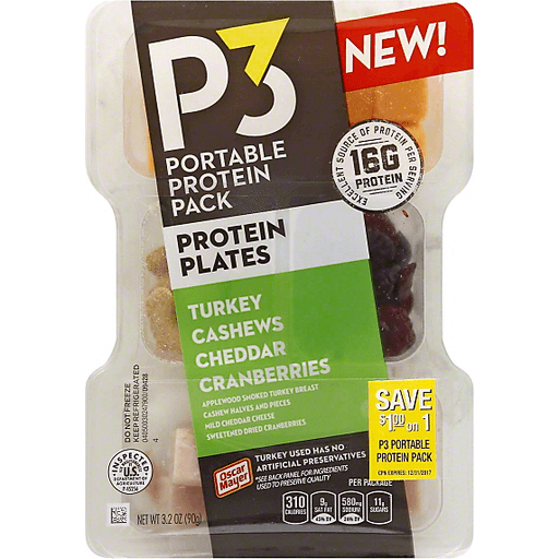 P3 Portable Protein Pack Protein Plates Turkey Cashews Cheddar Cranberries