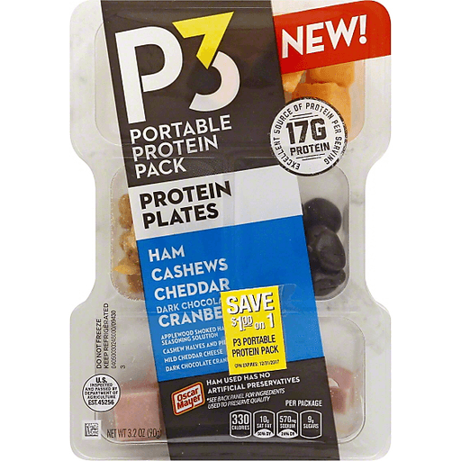 P3 Portable Protein Pack Protein Plates Ham Cashews Cheddar Dark Chocolate Cranberries