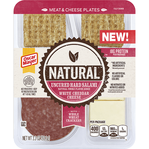 Oscar Mayer Natural Uncured Hard Salami & White Cheddar Meat & Cheese Plates 3.3 oz. Tray