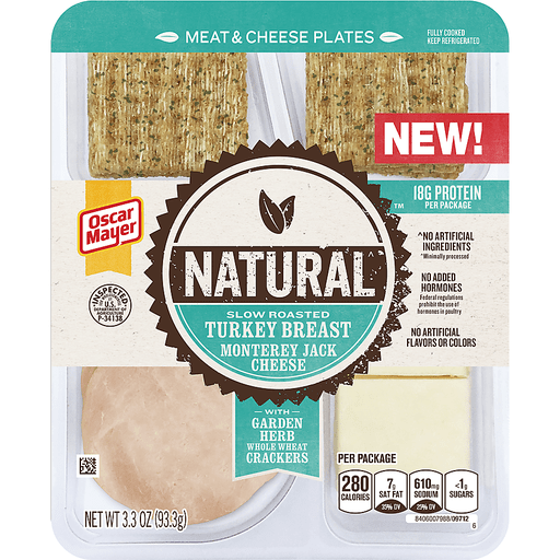 Oscar Mayer Natural Slow Roasted Turkey Breast & Monterey Jack Meat & Cheese Plates 3.3 oz. Tray