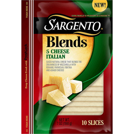 Sargento® Blends 5 Cheese Itailian Sliced Cheese 7 oz. Pack