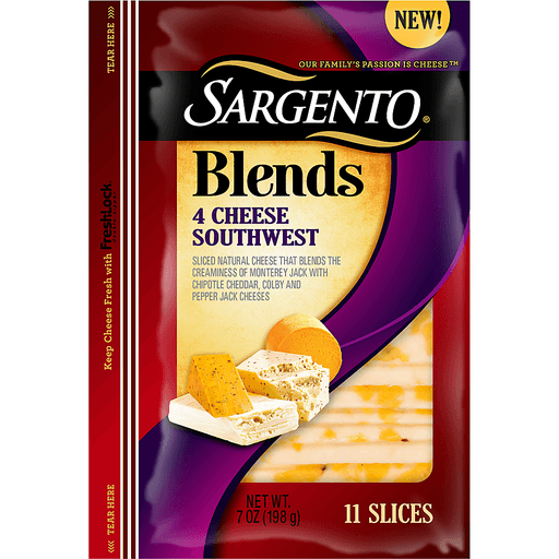 Sargento® Blends 4 Cheese Southwest Sliced Cheese 7 oz. Pack