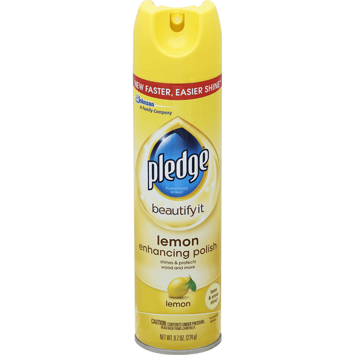 Pledge Beautify It Furniture Spray Enhancing Polish Lemon