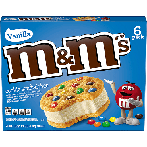 M&M'S® Cookie Sandwiches With Vanilla Ice Cream 6-Count Box