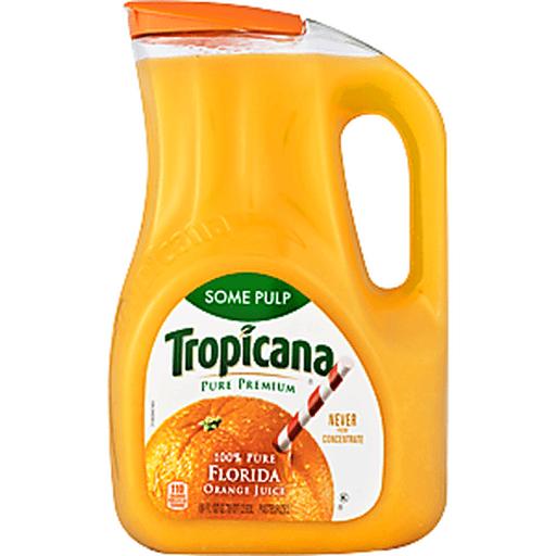 Tropicana Pure Premium 100% Juice, Orange, Homestyle, Some Pulp