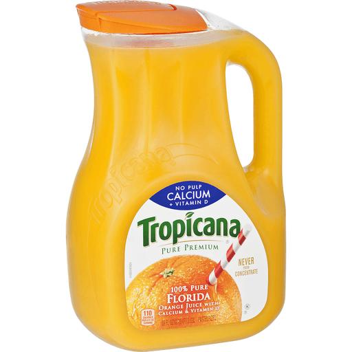 Tropicana Pure Premium 100% Juice, Orange, Calcium + Vitamin D, No Pulp