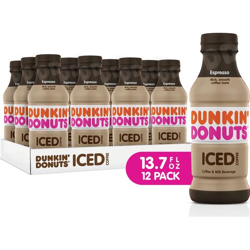 Dunkin' Donuts Espresso Iced Coffee Bottles, 13.7 Fl Oz
