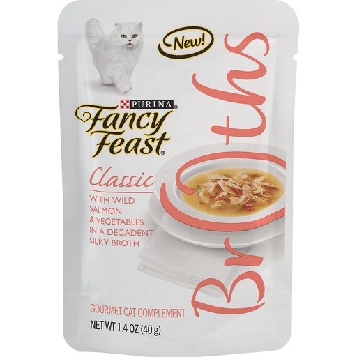 Fancy Feast Broths Cat Complement, Gourmet, Classic, with Wild Salmon & Vegetables