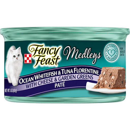 Fancy Feast Medleys Ocean Whitefish & Tuna Florentine with Cheese & Garden Greens Pate