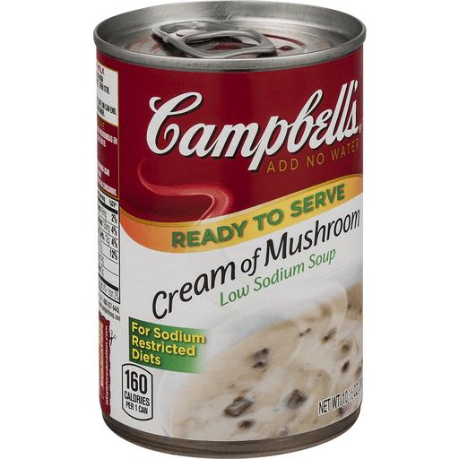 Campbells Soup, Ready to Serve, Low Sodium, Cream of Mushroom