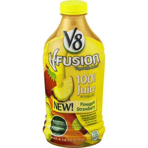 V8 V-Fusion 100% Juice, Vegetable & Fruit, Pineapple Strawberry