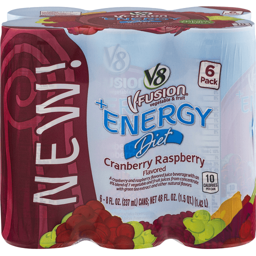 V8 V-Fusion +Energy Juice Beverage, Diet, Cranberry Raspberry Flavored, 6 Pack