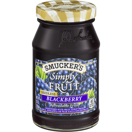 Smuckers Simply Fruit Spreadable Fruit, Blackberry, Seedless