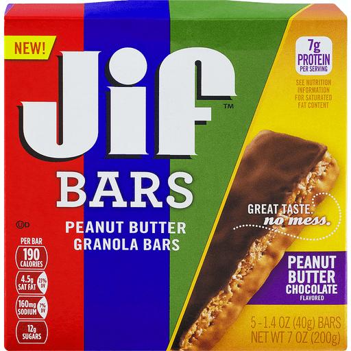 Jif Bars Granola Bars, Peanut Butter, Peanut Butter Chocolate Flavored