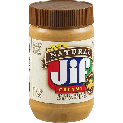 Jif Natural Peanut Butter Spread, Creamy