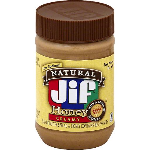 Jif Natural Peanut Butter Spread, Honey