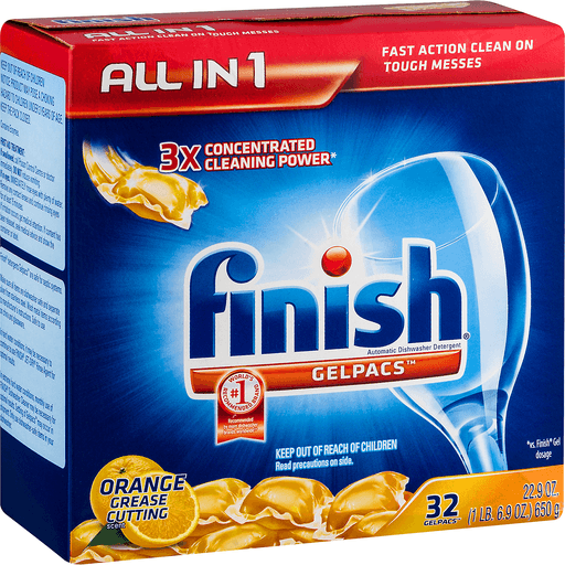 Finish All in 1 Automatic Dishwasher Detergent, Orange Scent, Gelpacs