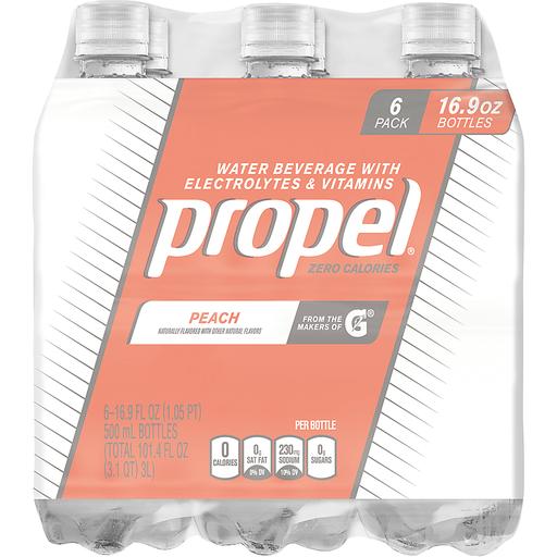 Propel Water Beverage, with Electrolytes & Vitamins, Peach, 6 Pack