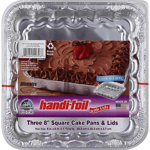 Handi Foil Eco-Foil Cake Pans & Lids, Square, 8 Inches