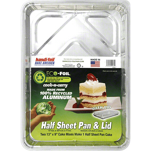 Handi Foil Eco-Foil Cook-N-Carry Cake Pan & Lid, Half Sheet