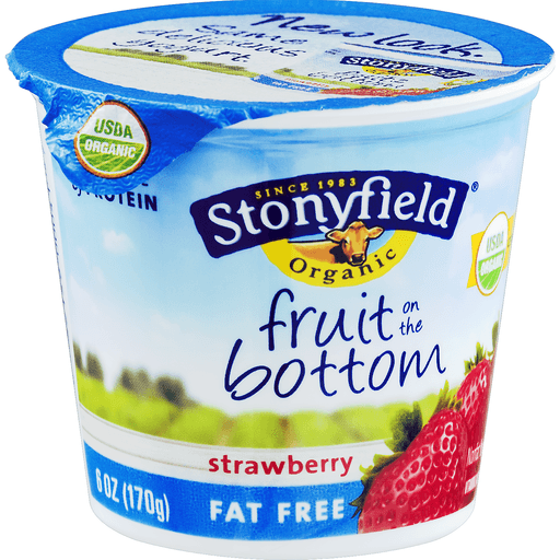 Stonyfield Farm Organic Yogurt, Organic, Fat Free, Fruit on the Bottom, Strawberry