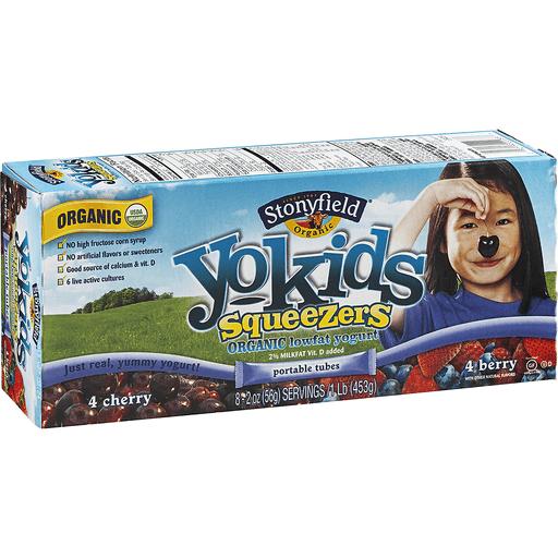Stonyfield Farm YoKids Organic Squeezers Yogurt, Lowfat, Cherry/Berry, Tubes