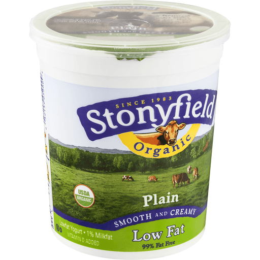 Stonyfield Farm Organic Yogurt, Lowfat, Smooth & Creamy, Plain