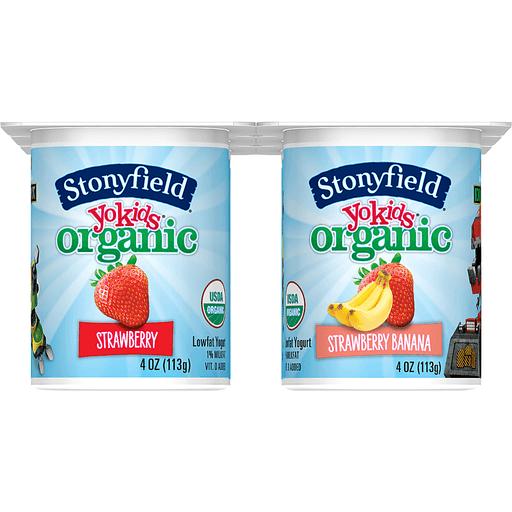 Stonyfield Farm Organic YoKids Yogurt, Lowfat, Strawberry Banana/Strawberry, Netflix DreamWorks DinoTrux