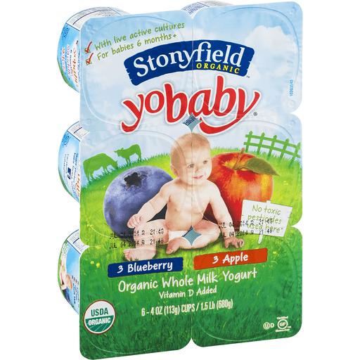 Stonyfield Farm Organic YoBaby Yogurt, Whole Milk, Apple, Blueberry, 6+ Months