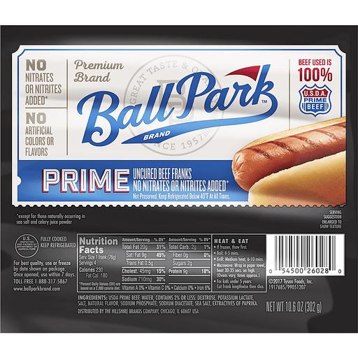 Ball Park Franks, Uncured Beef, Prime