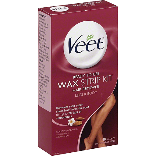 Veet Hair Removal Ready To Use Wax Strip Kit 40 Count Shaving