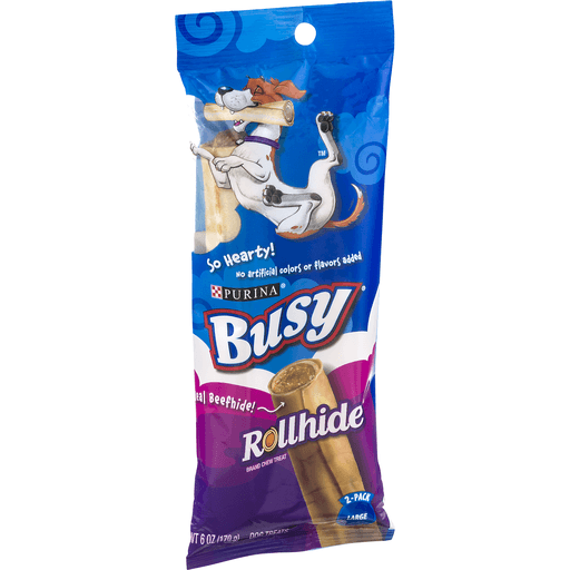Busy Rollhide Dog Treats, Large, 2-Pack