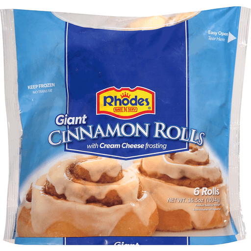 Rhodes Bake-N-Serv® Giant Cinnamon Rolls with Cream Cheese Frosting 6 ct Bag