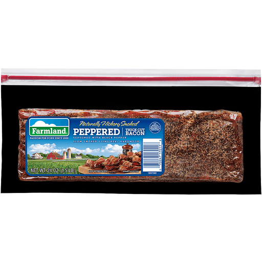 Farmland® Naturally Hickory Smoked Peppered Thick Cut Bacon 24 oz. Package