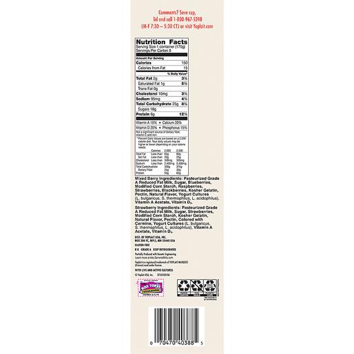 Yoplait® Original Strawberry/Mixed Berry Low Fat Yogurt Variety Pack 8-6 oz. Cups