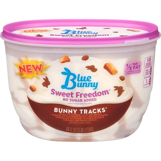 Blue Bunny Sweet Freedom Ice Cream, No Sugar Added, Bunny Tracks