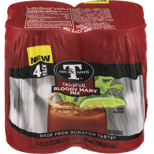 Mr & Mrs T Original Bloody Mary Mix, 5.5 Fl Oz Cans, 4 Pack