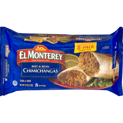 El Monterey Chimichangas, Beef & Bean, 8-Pack Family Size