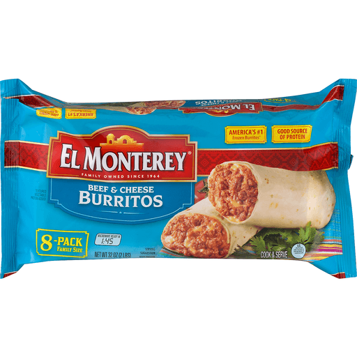 El Monterey Burritos, Beef & Cheese, 8-Pack Family Size